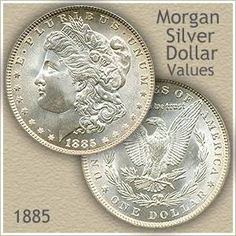 1885 Morgan silver dollar value has risen with the price of silver. Using grading images, accurately judge the condition of your coin and often it is worth more. Silver Coins For Sale, Us Silver Coins, Silver Dimes, Sell Silver, Silver Dollar Coin Value, Morgan Silver Dollar, Gold Coin Price, Silver Value, Rare Coins Worth Money