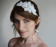 Bridal Vintage lace Head piece, lace and pearls wedding hair accessory,  bridal headband in Ivory lace and pearls. $52.00, via Etsy.