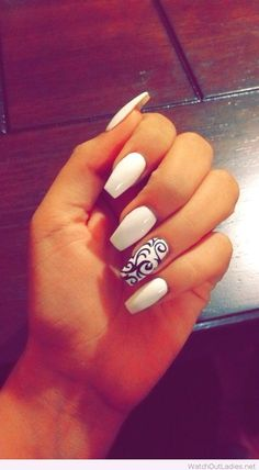 White coffin acrylic manicure