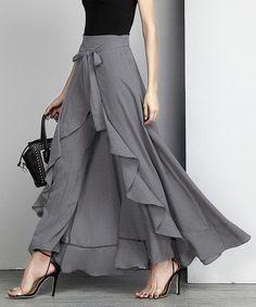 Reborn Collection Charcoal Chiffon High-Waist Ruffle Pants - Women office wear or wedding outfit Designer Wear, Designer Dresses, Hijab Fashion, Fashion Dresses, Fashion Fashion, Dress Skirt, Dress Up, Dress Pants, Ruffle Pants