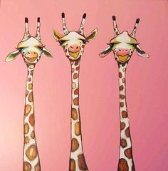 3 Giraffes in Pink - SOLD Oil Painting