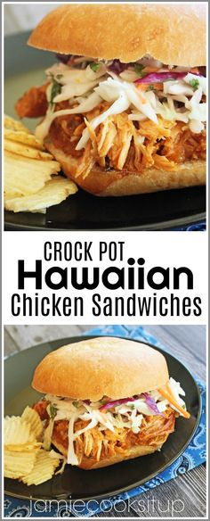 I have a wonderfully easy and fabulous tasting crock pot recipe for you all today! These sandwiches are seriously super delicious. The chicken is slow cooked in a wonderful sweet and sour, Hawaiian… dinner recipes Crock Pot Hawaiian Chicken Sandwiches Slow Cooker Recipes, Cooking Recipes, Healthy Recipes, Eat Healthy, Slow Cooker Summer Recipes, Crockpot Meals, Crock Pot Healthy, Crock Pot Dinners, Summer Lunch Recipes