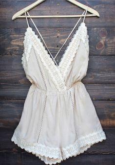 White Patchwork Lace Tie Back Backless Short Jumpsuit - Jumpsuit Pants - Bottoms