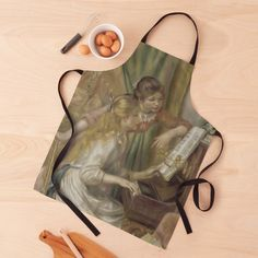 """""""Young Girls at the Piano Oil Painting by Pierre Auguste Renoir"""" Apron by podartist   Redbubble Custom Aprons, Pierre Auguste Renoir, Piano, Oil, Painting, Personalized Aprons, Painting Art, Pianos, Paintings"""