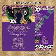 Soccer Quince Invitation Masquerade Purple - Soccer Quinceanera Invitation - Masquerade - Theme Parties - Quinceanera Invitations, Sweet Sixteen Invitations, Vip Passes - (Powered by CubeCart)