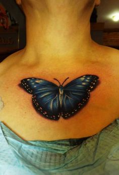 Blue butterfly tattoo by Blake Gaudette at Crimson Heart Designs, Clear Lake, WI