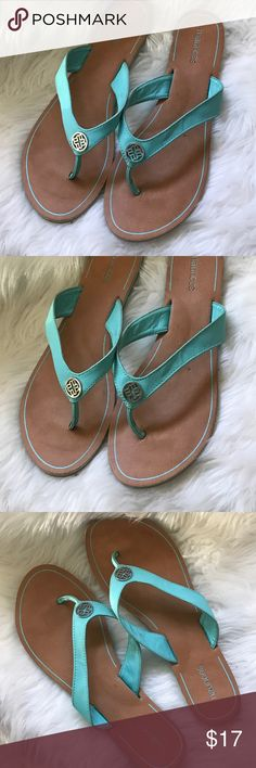 Maurice's flip flops Size 10 but wears like a size 9. Pretty almost Tiffany blue color with a silver accent on thong. Maurices Shoes Sandals