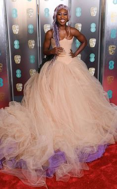 Cynthia Erivo from 2019 BAFTA Film Awards: Red Carpet Arrivals The EE Rising Star Award nominee arrives on the red carpet. Purple Gowns, Blush Dresses, Wedding Dresses, Cynthia Erivo, Red Carpet Looks, Gray Carpet, Carpet Colors, Glamour, Celebs