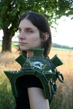 SUR commande - Ligue des légendes Riven cosplay lol épaule vert armor bracer larp stringer greave guerrier