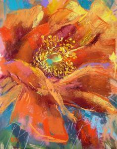 Orange Cactus Bloom, painting by artist Karen Margulis