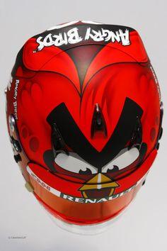 I love Heikki Kovalainen's new Angry Birds helmet for F1 2012.