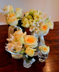 Flowergirl posies used for table decoration.