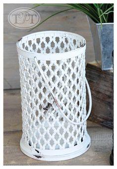 Open Weave Metal Handled Candleholder