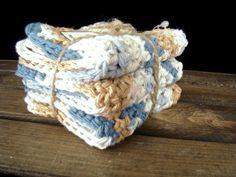 Blue Crochet Washcloth - Cotton Washcloth - Blue Cotton Washcloth - Crochet Dishcloth - Cotton Dishcloth - Blue Dishcloth, Cotton Face Cloth - pinned by pin4etsy.com
