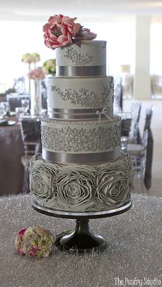 Gorgeous Grey Roses & Tiny Scrollwork Wedding Cake