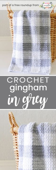 Crochet this easy beginner friendly gingham in grey boys baby blanket from Daisy Farm Crafts from my crochet baby blankets for boys free pattern roundup!