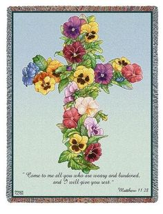 Personalized Pansy Cross Tapestry Throw