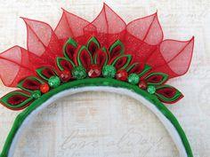 Red and Green Tiara Kanzashi Headband - $12.00 - Handmade Accessories, Crafts and Unique Gifts by AngelPetals #thecraftstar #littlegirls #holidayaccessories
