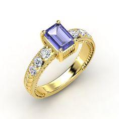 The Emerald Isle Ring #customizable #jewelry #tanzanite #diamond #gold #ring #emeraldcut
