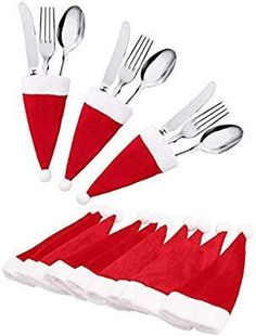 : jollylife Christmas Santa Hats Silverware Holders - Xmas Party Dinner Table Decorations Supplies: Home & Kitchen Christmas Decoration Items, Christmas Table Settings, Easy Christmas Crafts, Christmas Sewing, Felt Christmas, Christmas Projects, Simple Christmas, Christmas Holidays, Christmas Ornaments