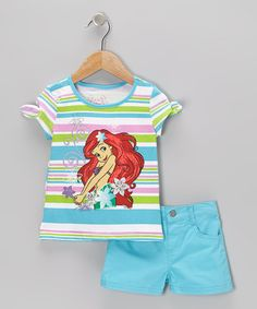 Aquamarine Stripe Ariel Cap-Sleeve Tee & Shorts - Toddler