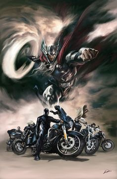 Thor ~ HARLEY-DAVIDSON PRESENTS THOR IN: FEATURING THE ORIGIN OF ROAD FORCE #1 Cover) By: Alexander Lozano.
