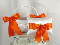 Orange and White Flower Girl Basket and Ring by EuphoriaRoad, $49.95