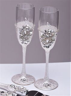 Personalized Glasses Champagne Flutes Silver Wedding Toasting Set Of 2