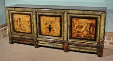 Lacquered Chinese ShanXi Province Sideboard - Antiques Atlas Antique Chinese Furniture, Antique Sideboard, Cabinet Decor, Grey Paint, Light Up, Restoration, Bronze, Hand Painted, Antiques