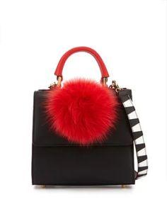 Les Petits Joueurs  Alex Mini Leather Fur-Pom Bag, Black/Red  $1,050