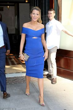 What a knockout: She teamed her dress with a pair of delicate pointed stilettos and subtle jewelry