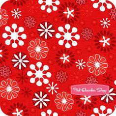 Jingle Red Snowflakes Yardage SKU# 12404-3 - Christmas Cloth Store