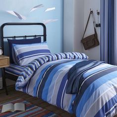 Ollie Blue Stripe Bed Linen Collection