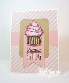 Hand stamped birthday card by Lori Tecler using the Small Packages set from Verve. #vervestamps