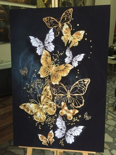 Small Canvas Paintings, Diy Canvas Art, Gold Leaf Art, Art For Art Sake, Butterfly Art, Geometric Art, Abstract Wall Art, Painting & Drawing, Art Projects