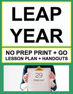 LEAP YEAR / LEAP DAY NO PREP: NO PREP Lesson Plan and Printable Activities for Leap Day!!Simply Print, Project & Teach this Leap Year / Leap Day! Includes: Lesson Plan, Bell ringer, History & Traditions of Leap Year Articles, Persuasive, Expository, Creative and Acrostic Poem Writing Prompts, and Word Search!! #leapdayactivities #leapyearactivities