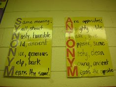 super cute idea for teaching synonyms and antonyms