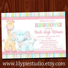 Jungle Animals Baby Girl Shower Invitation PRINTABLE Digital File.