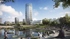 Foster + Partners Design Sustainable Corporate Campus Featuring Budapest's Tallest Building