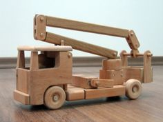 Tilly the utility bucket truck wooden toy truck by TrickTruck