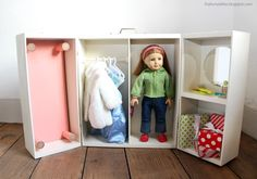Ana White | Doll Closet - Folding 18 Inch Doll Furniture Storage Trunk with Bed - DIY Projects