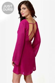 Cute Magenta Dress - Long Sleeve Dress - Fuchsia Dress - $37.50