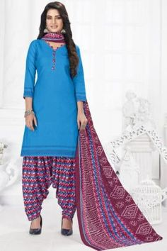Patiyala Dress, Daily Wear, Printed Cotton, Tunic Tops, Suits, How To Wear, Blue, Collection, Dresses
