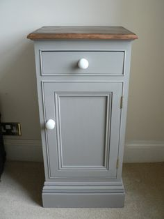Shabby Chic Bedside Cabinet Pot Cupboard painted by RubydoDesigns