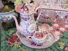 Pretty Pink Shabby Mosaic Tea Set by hillspeak, via Flickr