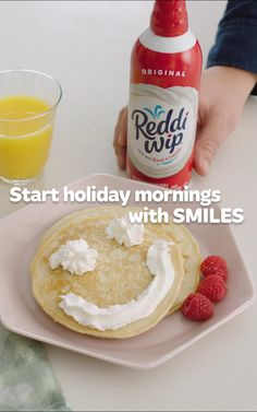 Reddi-wip creates instant magic during your holiday breakfast. One whoosh gives pancakes a delicious boost of real cream.