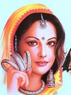 Coloring for adults - Kleuren voor volwassenen Indian Women Painting, Indian Art Paintings, Indian Artist, Rajasthani Painting, Rajasthani Art, India Painting, Woman Painting, Pencil Art Drawings, Art Drawings Sketches