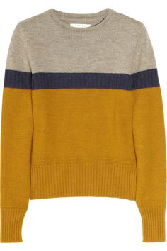 Gray, navy, mustard sweater