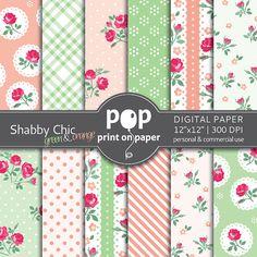 Floral digital paper SHABBY CHIC green orange by POPprintonpaper, $4.00