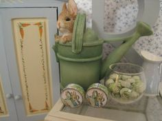 Beatrix Potter dollhouse miniature soaps and cream for baby